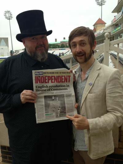 The chaps at Trent Bridge showing the front page of The Independent.
