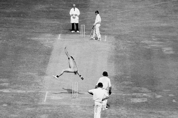 Michael Angelow streaks at Lords in 1975 - Photo: PA