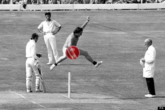 Michael Angelow leaps over the stumps
