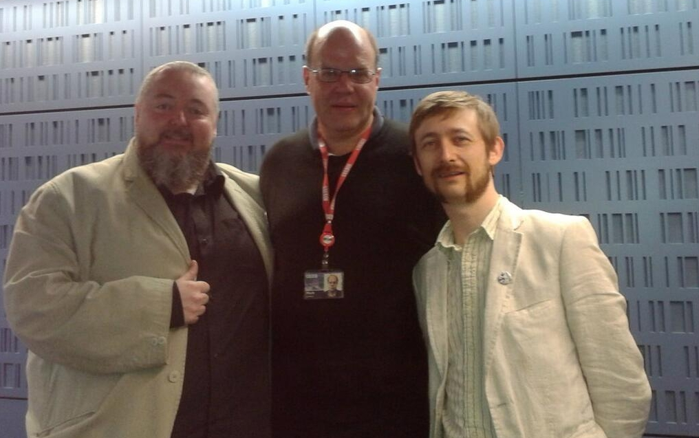 Thomas and Neil with Mark Lawson.